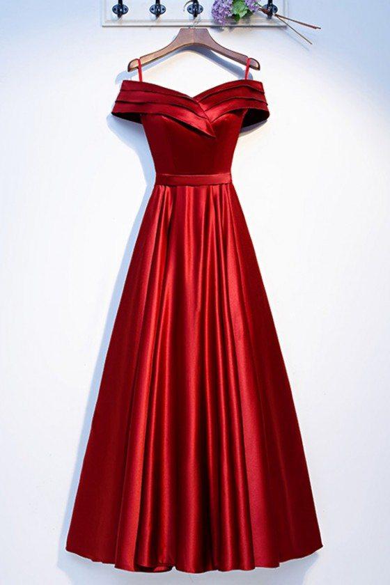 Off Shoulder Pleated Long Aline Prom Dress Burgundy
