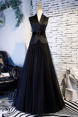 Formal Long Black Tulle...