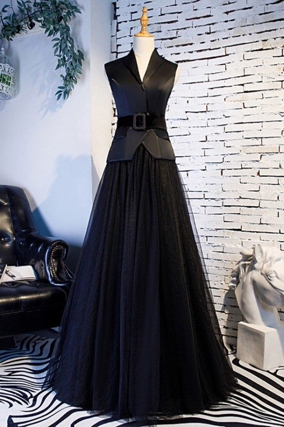 Formal Long Black Tulle Party Dress With Suit Collar