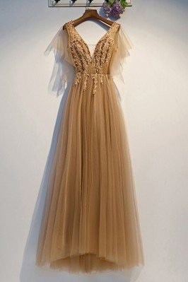Gold Vneck Flowy Tulle Long...