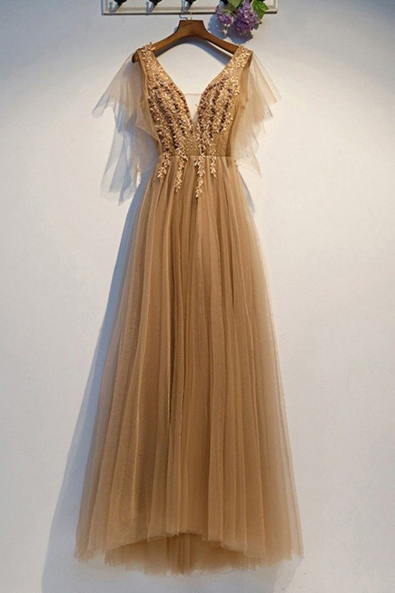 Gold Vneck Flowy Tulle Long Prom Dress With Puffy Sleeves