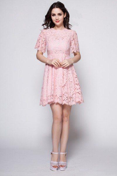 Short Sleeve Lace Short Dress