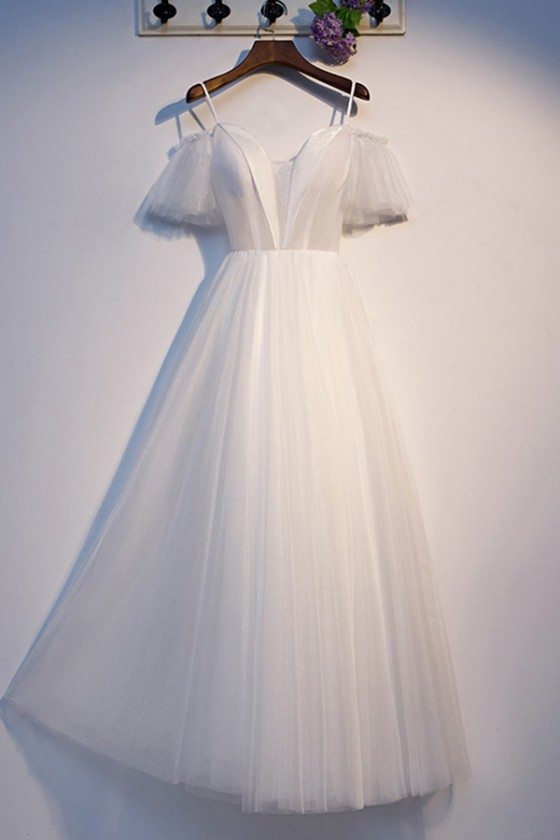 Long Tulle Aline White Formal Dress With Sleeves