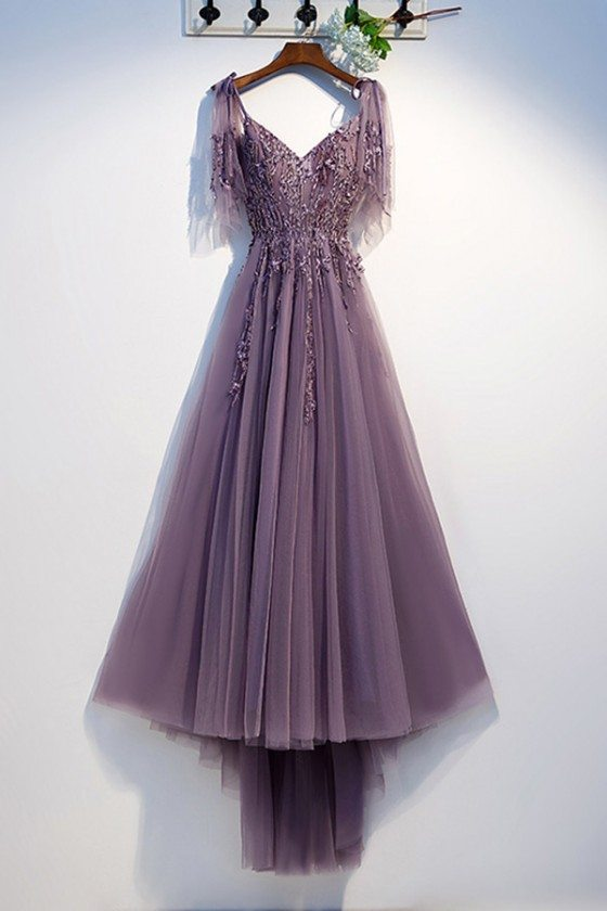 Flowy Purple Long Tulle Prom Dress With Puffy Sleeves
