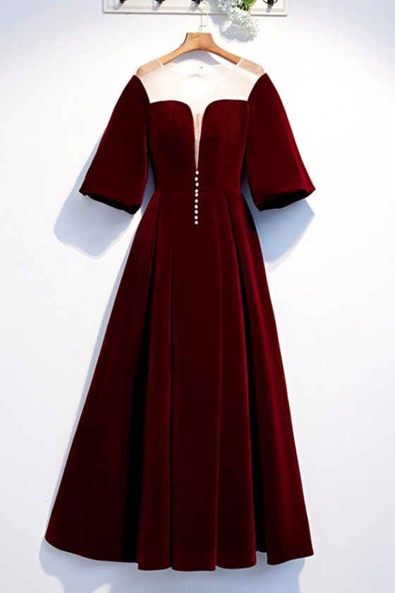 Long Formal Maroon Evening Party Dress Velvet With Sleeves