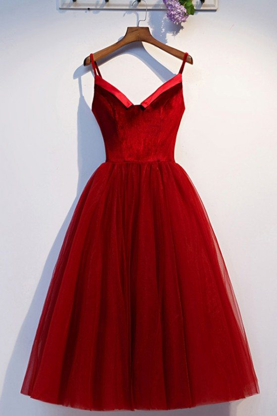 Velvet With Tulle Short Party Dress With Spaghetti Straps