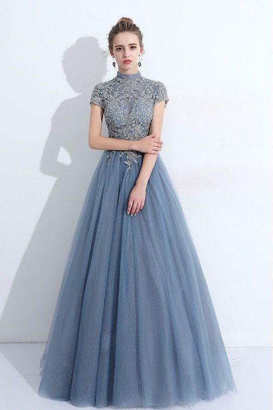 Trendy Dusty Blue Unique Prom Dress Long Tulle With High Neck Sheer Top