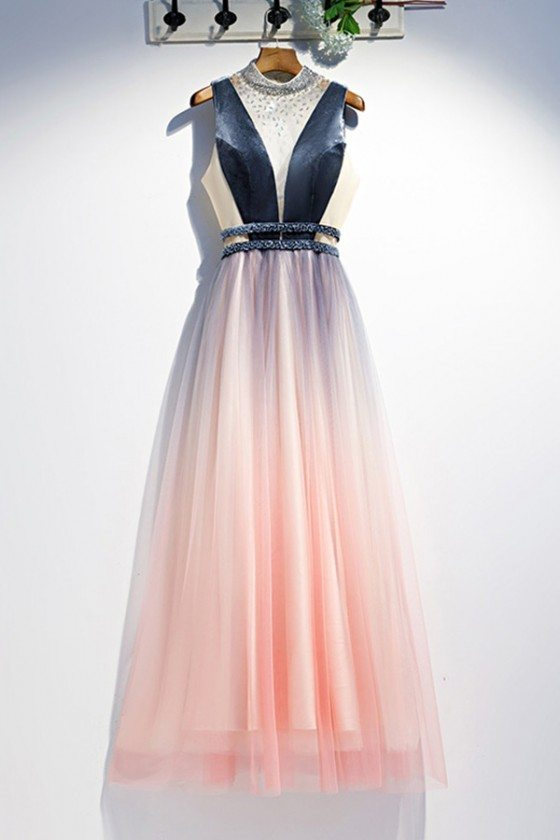 Beaded Vneck Long Flowy Tulle Ombre Pink Prom Dress With Sequins