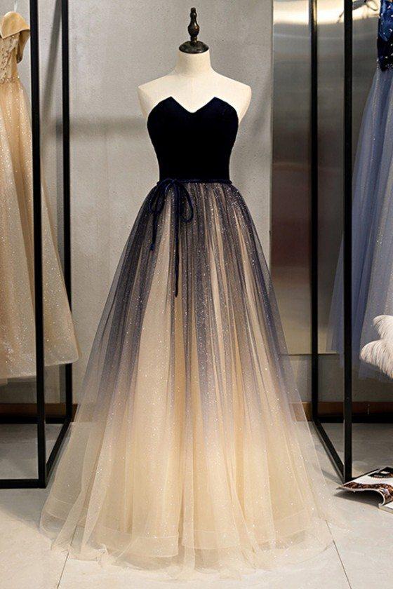 Strapless Champagne Long Tulle Blue Prom Dress Elegant