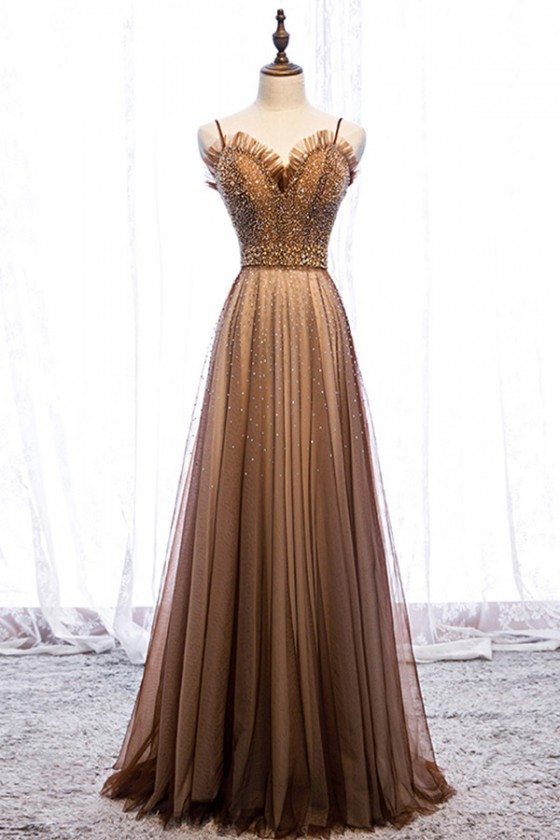 Brown Tulle Beaded Long Formal Prom Dress With Beading