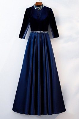 Modest Blue Long Formal...