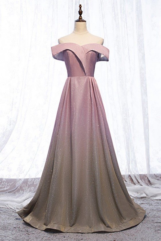 Mistery Pink Shinning Ombre Prom Dress Off Shoulder