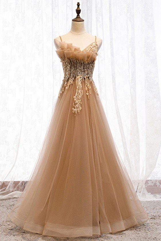 Beaded Long Tulle Special Prom Dress With Straps