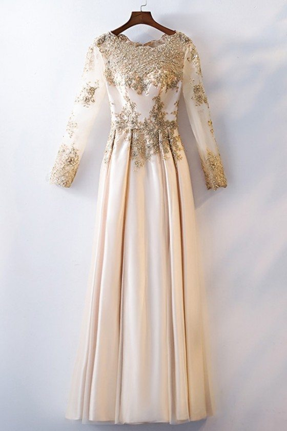 Unique Champagne Gold Aline Long Formal Dress With Beaded Long Sleeves
