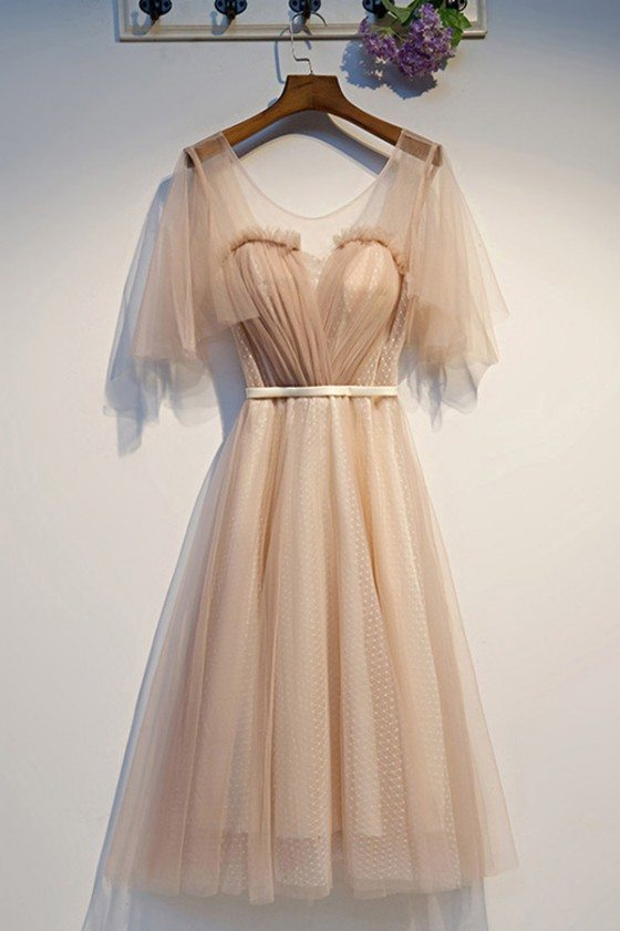 Pretty Sheer Neck Nude Party Dress With Tulle Sleeves