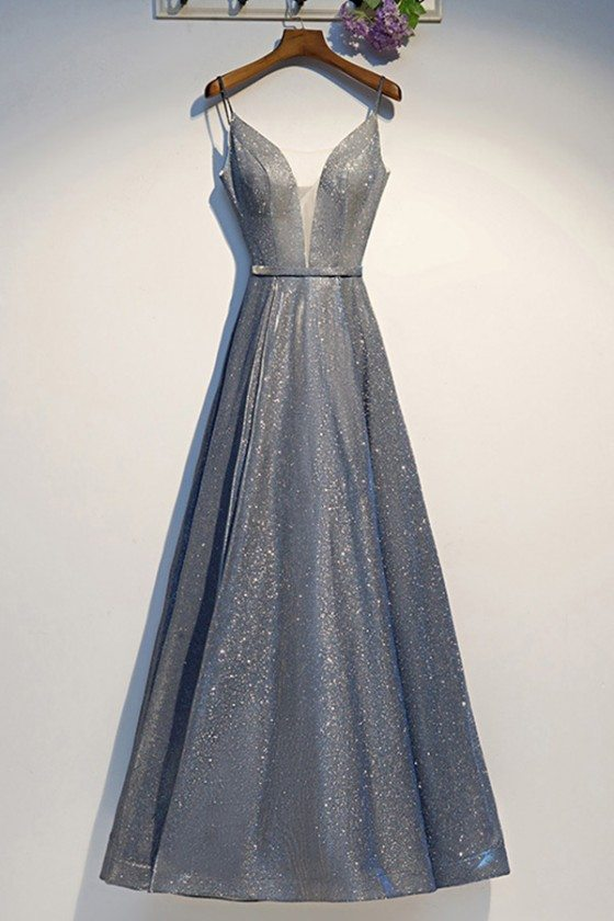 Silver Sparkly Long Prom Party Dress Aline With Straps