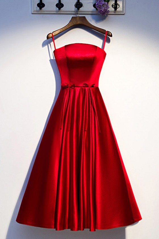 Red Satin Pleated Satin Party Dress With Straps