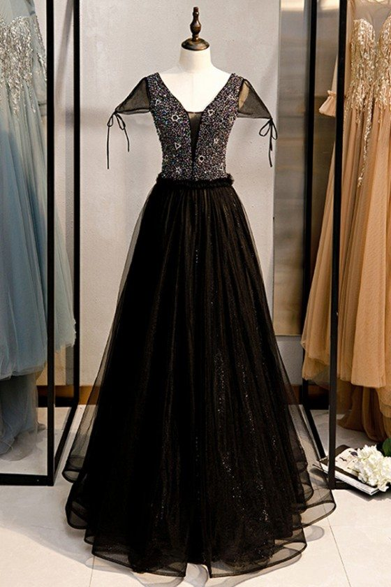 Long Formal Black Tulle Beaded Party Dress With Cap Sleeves