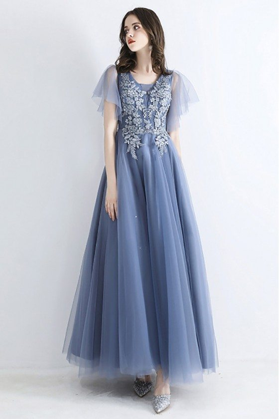 Fairy Dusty Blue Long Tulle Prom Dress With Puffy Tulle Sleeves Embroidery