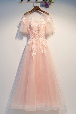 Cute Lace Blush Pink Prom...