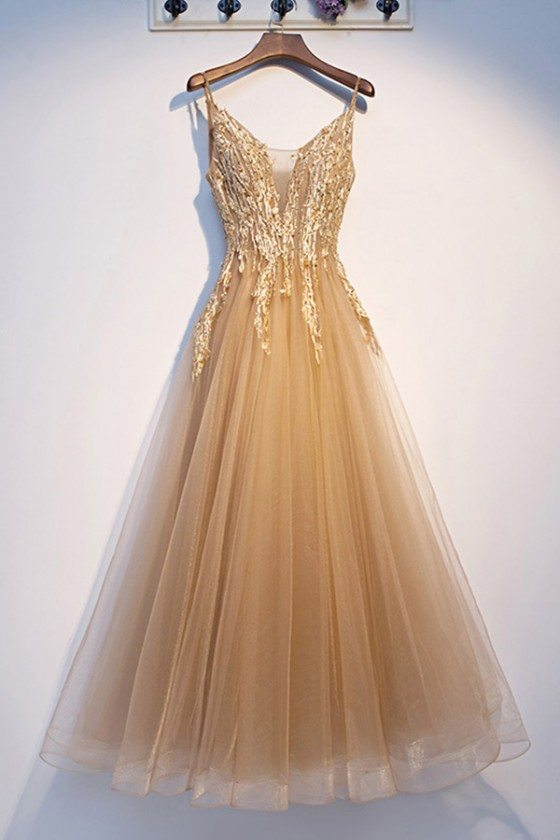 Luxe Champagne Gold Long Tulle Prom Dress With Beading