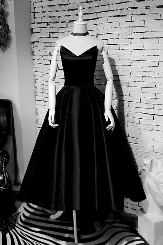 Retro Black High Low Simple Party Dress Strapless