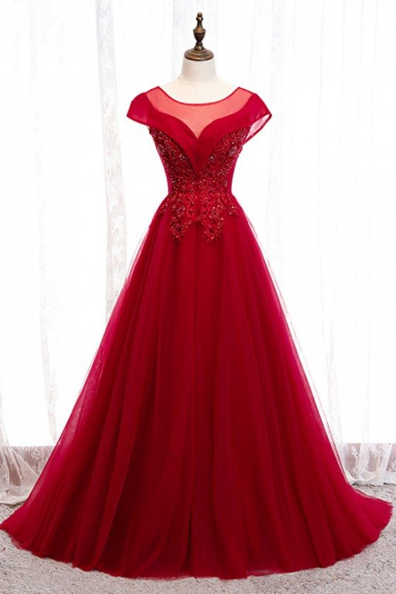 Burgundy Flowy Long Tulle Ballgown Formal Dress With Cap Sleeves
