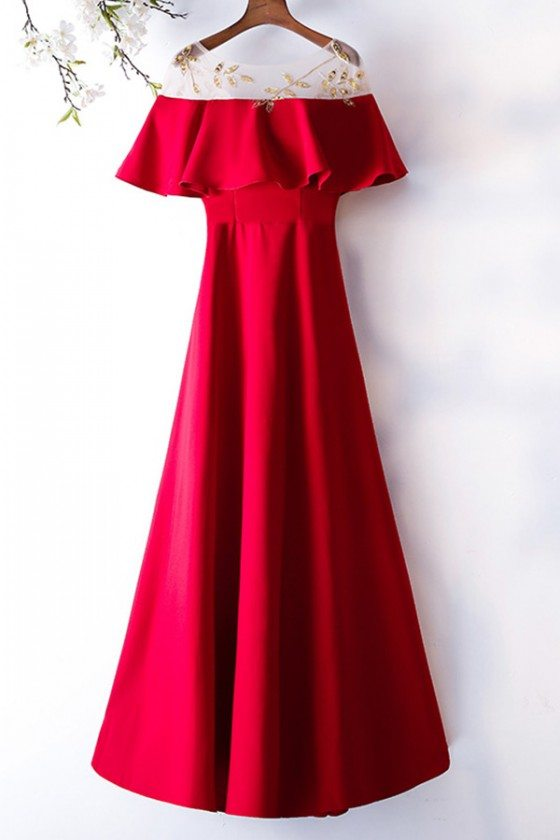 Formal Long Burgundy Simple Party Dress With Beaded Sheer Neckline
