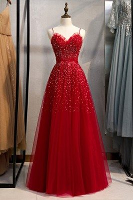 Cute Red Tulle Burgundy...