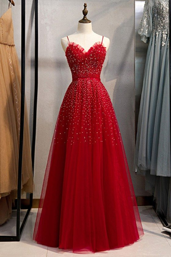 Cute Red Tulle Burgundy Prom Dress With Bling Straps