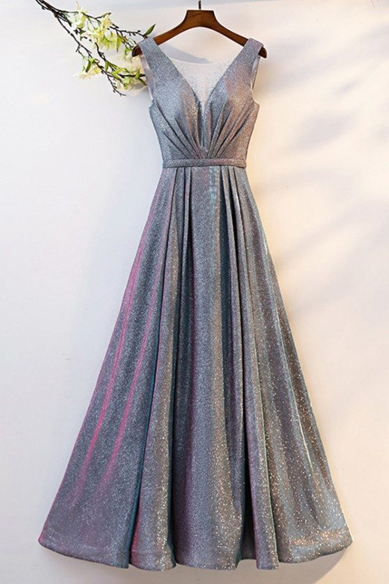 Pleated Illusion Vneck Long Grey Prom Dress With Metallic Fabric