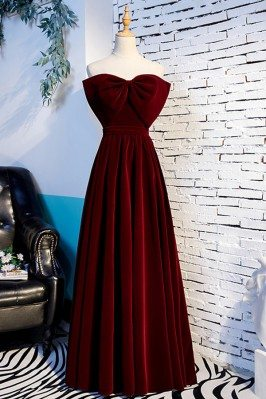 Dark Red Big Bow Front Long...