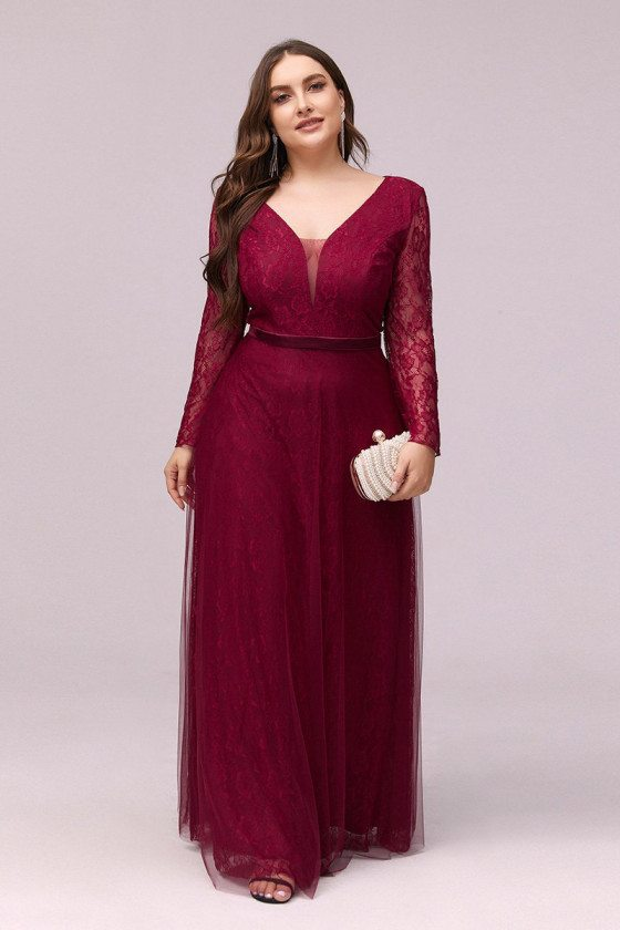 Plus Size Vneck Lace Burgundy Cheap Formal Dress With Long Sleeves