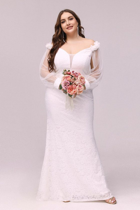 Plus Size Cream White Mermaid Lace Cheap Wedding Reception Dress With Sheer Sleeves