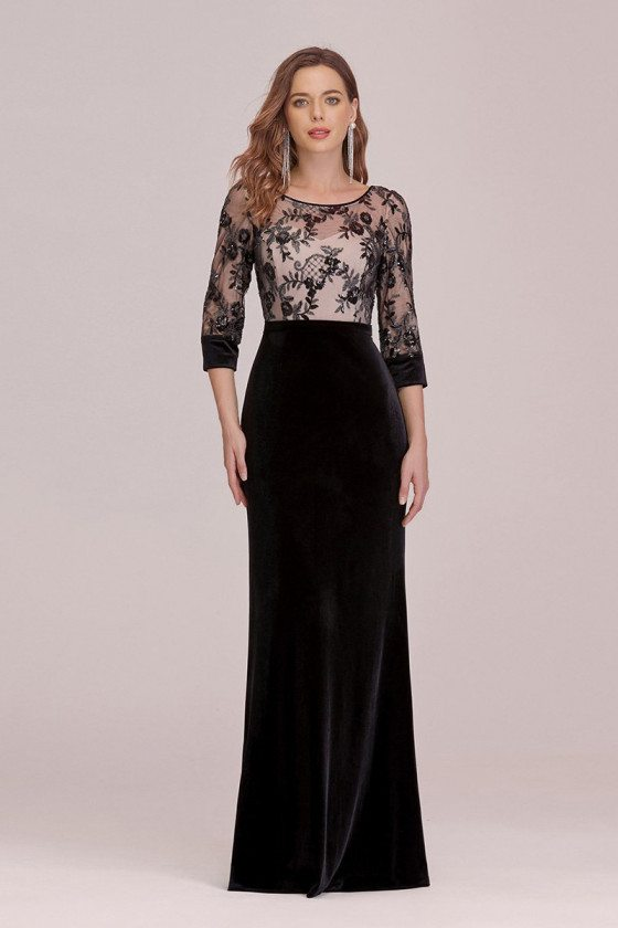 Modest Velvet Black Evening Dress With Lace Bodice Sleeves