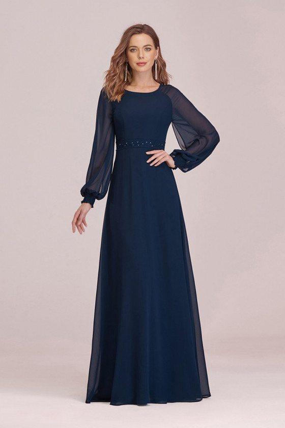 Navy Blue Aline Long Sleeves Chiffon Evening Dress