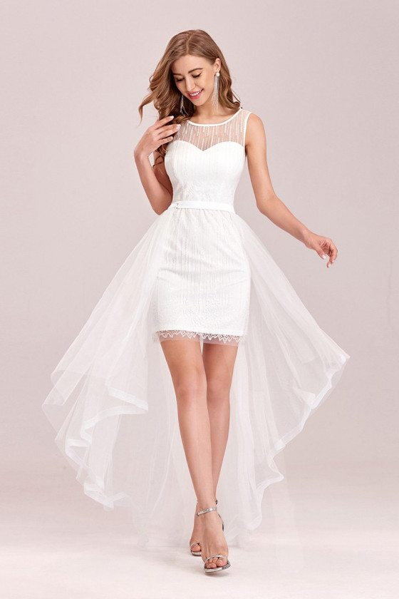 High Low Chic White Wedding Party Dress With Sheer Neckline