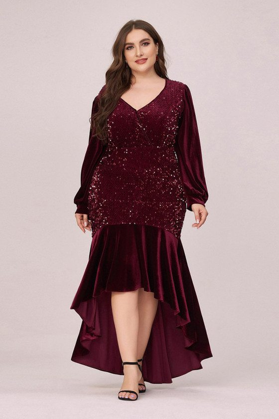 Plus Size Sequin And Velvet Bodycon Party Dress With Long Sleeves