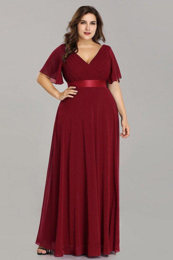 Plus Size Vneck Burgundy Chiffon Bridesmaid Dress With Ruffle Sleeves