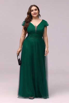 Plus Size Vneck Green...