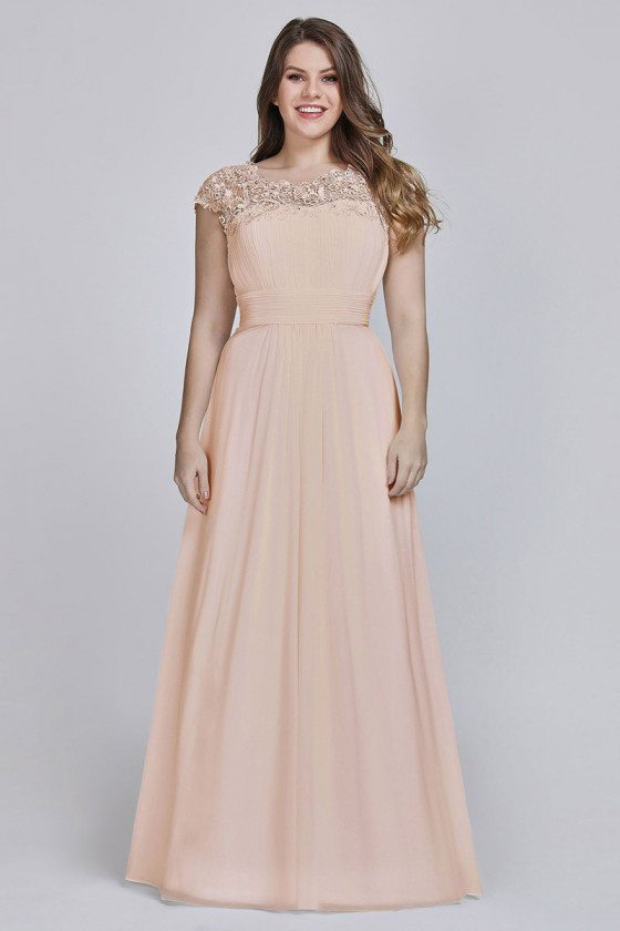 Blush Pink Ruched Plus Size Bridesmaid Dress With Lace Cap Sleeves