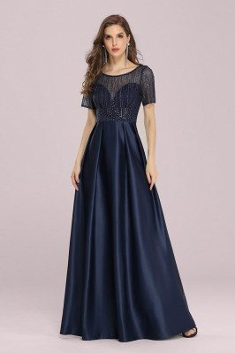 Navy Blue Satin Pleated...
