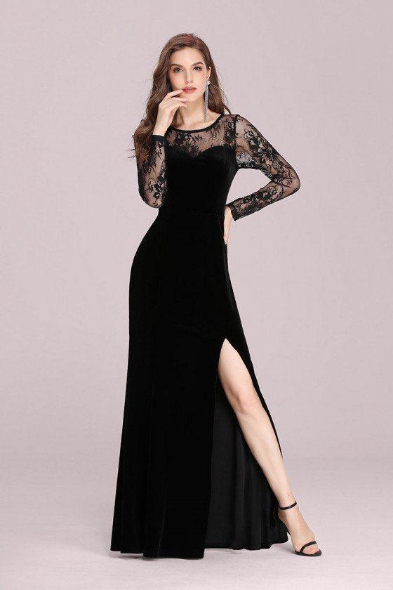 Black Lace Long Sleeves Velvet Evening Dress With Side Split