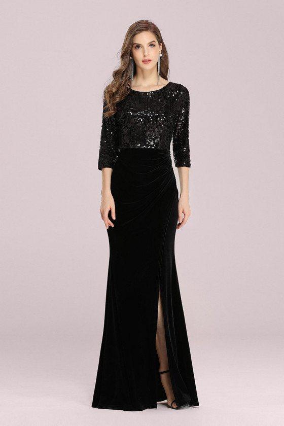 Formal Long Black Evening Velvet Dress With Sequined 3/4 Sleeves