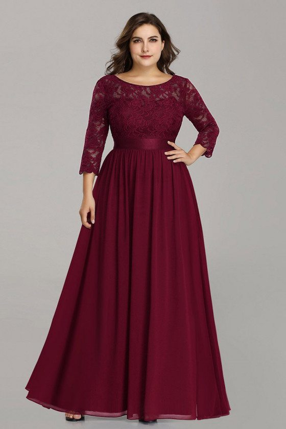 Burgundy Plus Size Long Bridesmaid Dress With Lace Sleeves