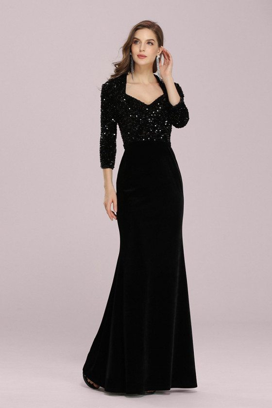 Elegant Black Velvet Mermaid Evening Dress With Sequins Sleeves