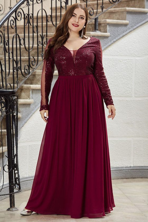 Burgundy Vneck Plus Size Evening Prom Dress With Long Sleeves