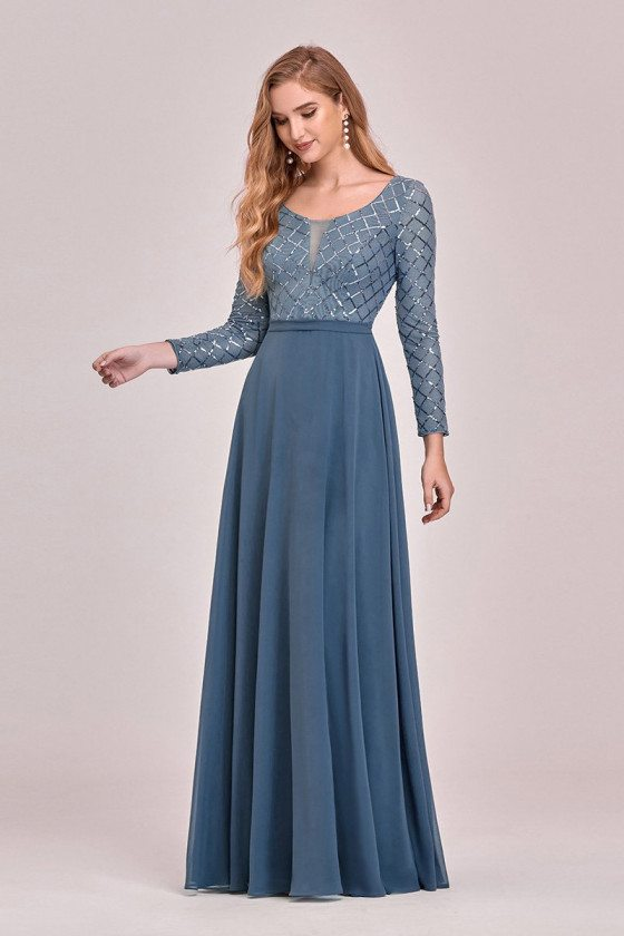 Dusty Blue Round Neck Chiffon Evening Dress With Long Sleeves