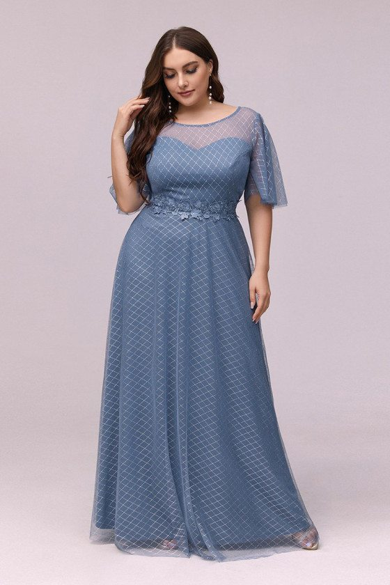 Plus Size Round Neck Dusty Blue Prom Dress With Puffy Sleeves