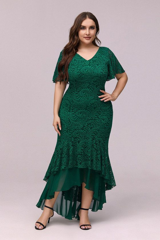 Plus Size Green Lace Bodycon Mermaid Party Dress With Puffy Sleeves